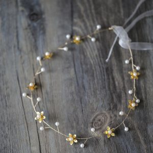 Affordable Gold Headbands Bridal Hair Accessories 2020 Metal Lace-up Pearl Flower Headpieces Bridal Accessories