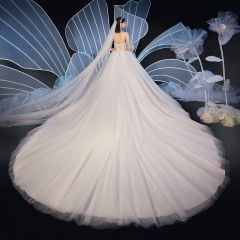 Chic / Beautiful Champagne Wedding Dresses 2019 Ball Gown Sweetheart Sleeveless Backless Glitter Tulle Beading Cathedral Train Ruffle