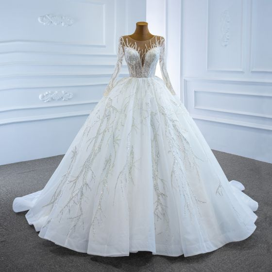 Luxury / Gorgeous White Bridal Wedding Dresses 2020 Ball Gown See-through Scoop Neck Long Sleeve Beading Sequins Chapel Train Ruffle