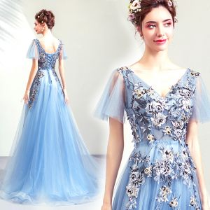 Chic / Beautiful Sky Blue Evening Dresses  2019 A-Line / Princess V-Neck Short Sleeve Appliques Lace Beading Sweep Train Ruffle Backless Formal Dresses