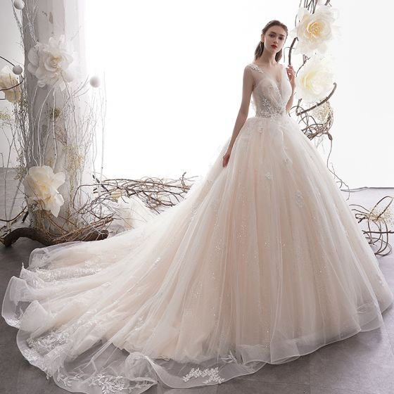 a164aeb6a167 Luxury / Gorgeous Champagne Wedding Dresses 2019 Ball Gown Deep V-Neck  Sleeveless Backless Sequins Beading Appliques Lace Glitter Tulle ...