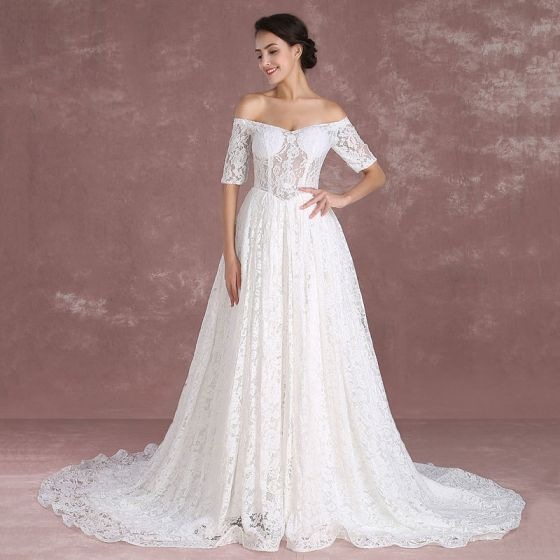 Elegant Ivory Lace Wedding Dresses 2018 A-Line / Princess Off-The-Shoulder 1/2 Sleeves Backless Court Train