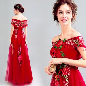 Flower Fairy Red Prom Dresses 2019 A-Line / Princess Off-The-Shoulder Rhinestone Lace Appliques Short Sleeve Backless Floor-Length / Long Formal Dresses