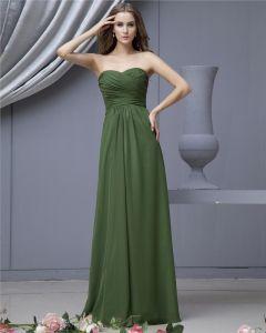 Fashion Empire Strapless Brush Train Satin Chiffon Bridesmaid Wedding Dress