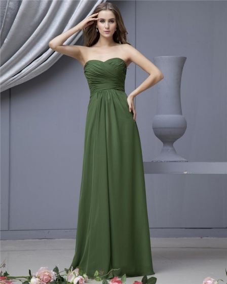 Fashion Empire Strapless Brush Train Satin Chiffon Bridesmaid Wedding Dress