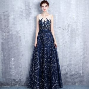 Chic / Beautiful Navy Blue Evening Dresses  2017 A-Line / Princess Scoop Neck Sleeveless Appliques Lace Pearl Sequins Glitter Rhinestone Sash Floor-Length / Long Ruffle Backless Formal Dresses