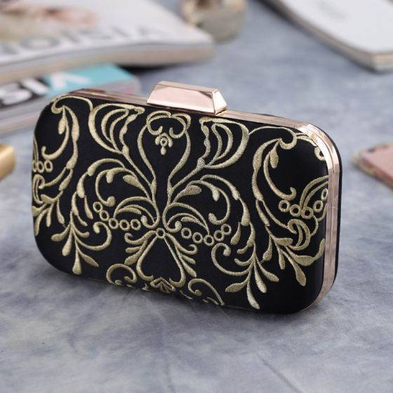 Vintage / Retro Black Embroidered Metal Clutch Bags 2018