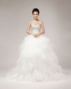 Beading Ruffles Sweetheart Floor Length Tulle Ball Gown Wedding Dress