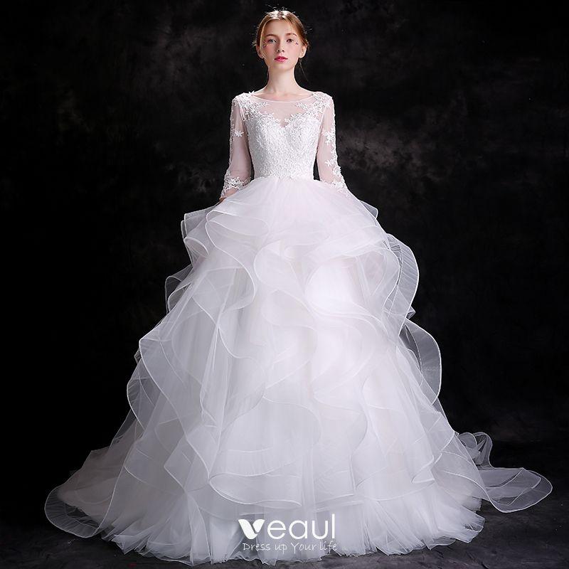 elegantes blanco vestidos de novia 2018 ball gown apliques con