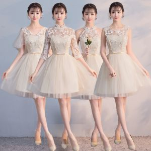 Affordable Champagne See-through Bridesmaid Dresses 2018 A-Line / Princess Appliques Lace Bow Sash Short Ruffle Backless Wedding Party Dresses