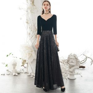 Stilig Svarta Aftonklänningar 2020 Prinsessa V-Hals Paljetter 1/2 ärm Halterneck Långa Formella Klänningar