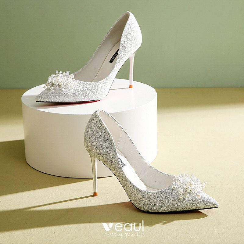Classic White Lace Wedding Shoes 2020