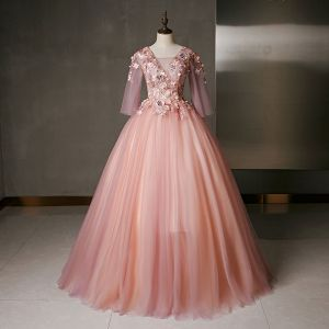 Flower Fairy Pearl Pink Prom Dresses 2020 Ball Gown V-Neck Pearl Sequins Lace Flower Appliques 3/4 Sleeve Backless Floor-Length / Long Formal Dresses