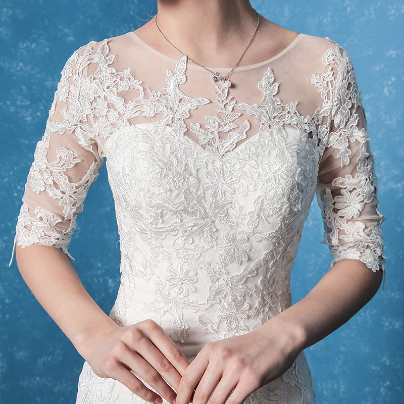 Chic / Beautiful Church Wedding Dresses 2017 White Trumpet / Mermaid Court Train Scoop Neck 1/2 Sleeves Backless Lace Appliques