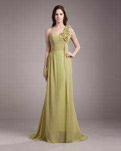 Une Fleur De Longueur De Plancher En Mousseline De Soie Robe De Demoiselle D'honneur Femme Plisse A L'epaule