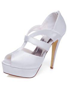 Blanc Élégant Sandales De Mariage 13 cm Talons Aiguilles Plateforme Peep Toe Chaussures De Mariée