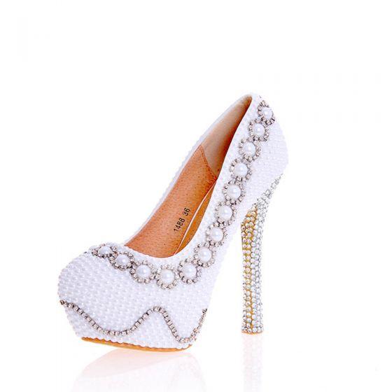 Sexy Ivory / Creme Perle Strass Brautschuhe 2020 Leder Wasserdichte 14 cm Stilettos Runde Zeh Hochzeit Pumps