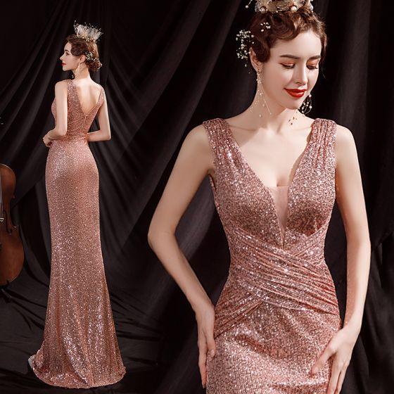Błyszczące Seksowne Różowe Złoto Cekiny Sukienki Wieczorowe 2021 Syrena / Rozkloszowane V-Szyja Bez Rękawów Bez Pleców Długie Sukienki Wizytowe
