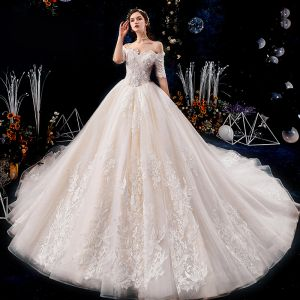 Luxury / Gorgeous Champagne Wedding Dresses 2019 Ball Gown Off-The-Shoulder Beading Sequins Pearl Lace Flower Appliques Short Sleeve Backless Royal Train