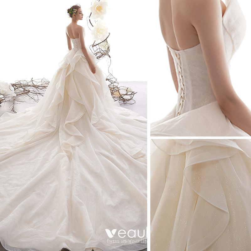 Romantic Champagne Wedding Dresses 2019 A-Line / Princess Sweetheart Sleeveless Backless Glitter Tulle Cascading Ruffles Cathedral Train