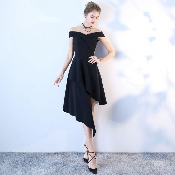 Amazing Unique Black High Low Homecoming Graduation Dresses 2018 A