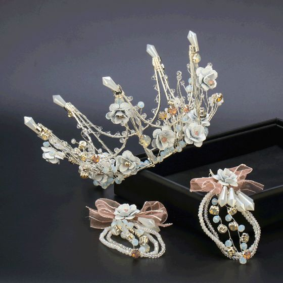 Flower Fairy Silver Silk Flower Tiara Earrings Bridal Jewelry 2020 Alloy Crystal Beading Wedding Accessories