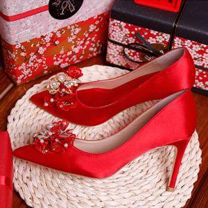 Único Rojo 9 cm High Heels 2019 Charmeuse Invierno Rebordear Perla Rhinestone Punta Estrecha Gala Noche Zapatos De Mujer