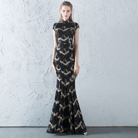 Chinese Style Black Gold Sequins Evening Dresses 2018 Trumpet
