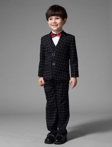 Boys Black Suits With White Plaid Children's Suits 4 Sets With Red Bow Tie