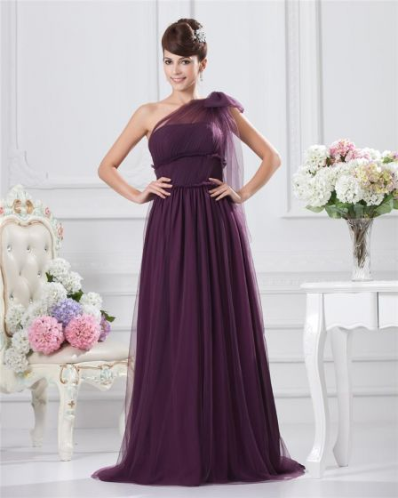 Chiffon Bowtie One Shoulder Floor Length Bridesmaid Dresses