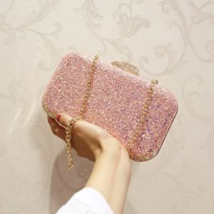 Bling Bling Candy Pink Glitter Metal Clutch Bags 2018