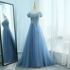 Elegant Ocean Blue Prom Dresses 2018 A-Line / Princess Sweetheart Short Sleeve Appliques Lace Pearl Rhinestone Sweep Train Ruffle Backless Formal Dresses