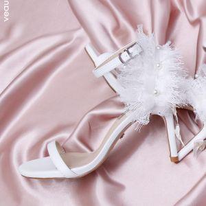 Charmant Ivory / Creme Ball Sandalen Damen 2020 Spitze Perle 9 cm Stilettos Peeptoes Sandaletten