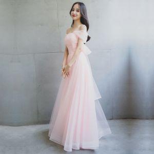 Mooie / Prachtige Bruidsmeisjes Jurken 2017 A lijn Strik Vierkante Halslijn Ruglooze Korte Mouwen Lange Jurken Voor Bruiloft