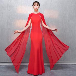 Erschwinglich Rot Abendkleider 2018 Meerjungfrau Rundhalsausschnitt Ärmellos Watteau-falte Rüschen Festliche Kleider