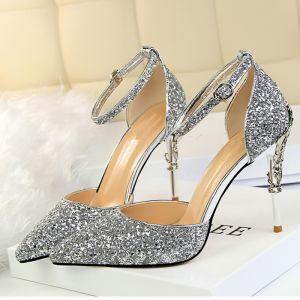 Brillante Plata High Heels 2018 Fiesta Noche Gala 9 cm De Tacón Punta Estrecha Correa Del Tobillo Glitter Zapatos De Mujer