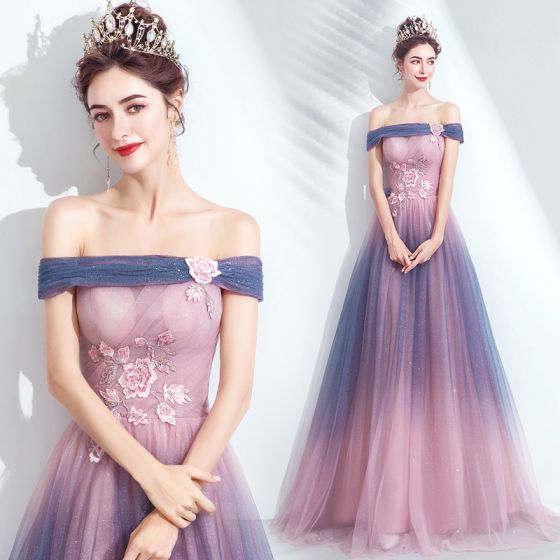 Charming Gradient-Color Blushing Pink Evening Dresses  2020 A-Line / Princess Off-The-Shoulder Glitter Beading Crystal Sequins Lace Flower Sleeveless Backless Floor-Length / Long Formal Dresses