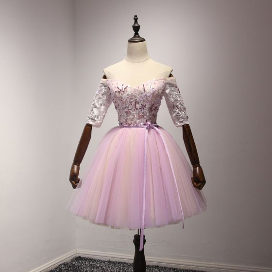 Chic / Beautiful Lilac Homecoming Graduation Dresses 2017 Ball Gown Off-The-Shoulder 1/2 Sleeves Appliques Lace Beading Crystal Sequins Pearl Sash Short Ruffle Backless Formal Dresses