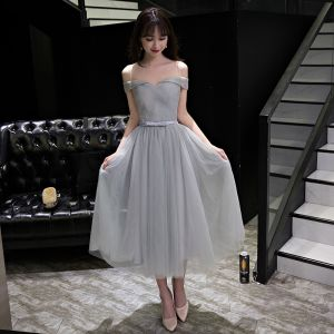 Sexy Grey Graduation Dresses 2017 A-Line / Princess Bow Backless Off-The-Shoulder Short Sleeve Short Formal Dresses