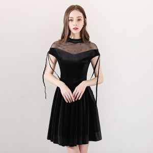 Modern / Fashion Black See-through Party Dresses 2018 A-Line / Princess High Neck Short Sleeve Pearl Tassel Short Ruffle Formal Dresses