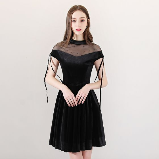 Modern / Fashion Black See-through Party Dresses 2018 A-Line / Princess High Neck Short Sleeve Pearl Tassel Short Ruffle Formal Dresses