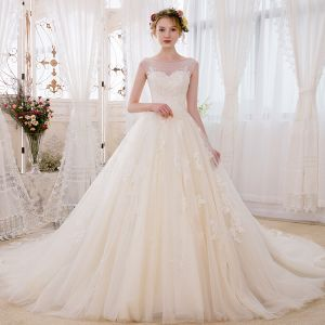 Romantic Champagne See-through Wedding Dresses 2018 Ball Gown Scoop Neck Sleeveless Backless Appliques Lace Glitter Beading Cathedral Train Ruffle