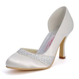 Round Mode Main Mignon A Talons Hauts Chaussures De Mariage De Satin Blanc