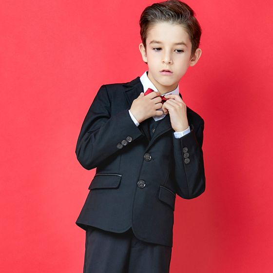 Sencillos Negro Trajes De Boda Para Niños 2020 Manga Larga Abrigos Pantalones Camisas Chaleco Corbata