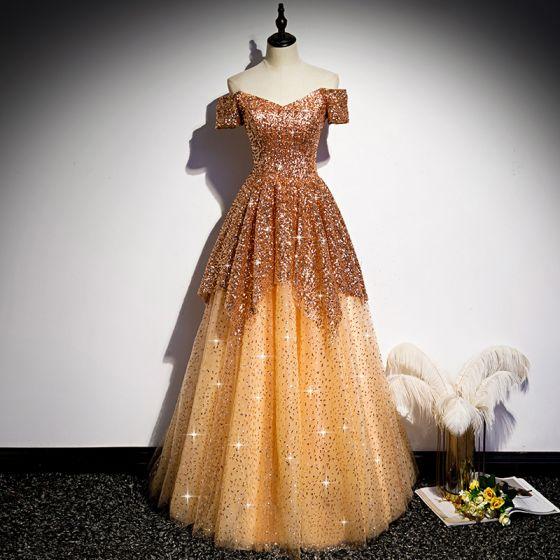 Brillante Oro Lentejuelas Bailando Vestidos de gala 2020 A-Line / Princess Fuera Del Hombro Manga Corta Largos Ruffle Sin Espalda Vestidos Formales