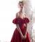 Eleganckie Burgund Sukienki Wieczorowe 2019 Princessa Przy Ramieniu Wzburzyć Kótkie Rękawy Bez Pleców Długie Sukienki Wizytowe
