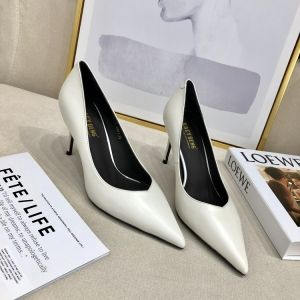 Modest / Simple Ivory Office OL Leather Pumps 2020 7 cm Stiletto Heels Pointed Toe Pumps