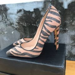 Chic / Beautiful Brown Rave Club Pumps 2019 Striped 12 cm Stiletto Heels Pointed Toe Pumps