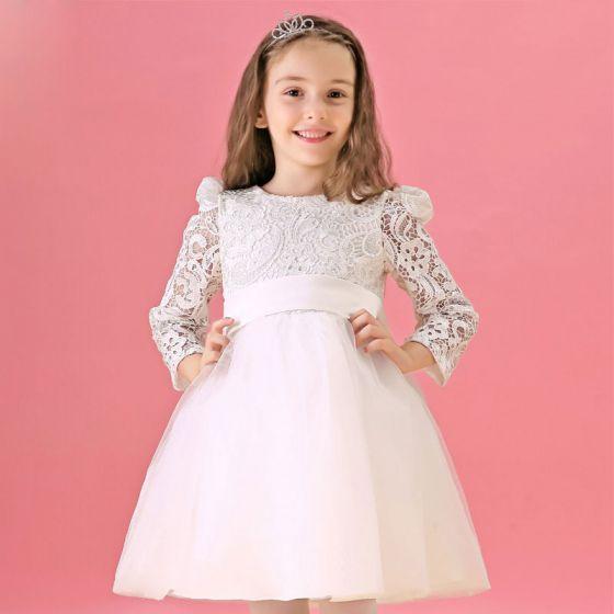 Long-sleeved White Flower Girl Princess Dress