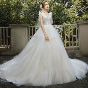 Elegant Champagne Bridal Wedding Dresses 2020 Ball Gown V-Neck Sleeveless Backless Appliques Lace Sequins Beading Cathedral Train Ruffle